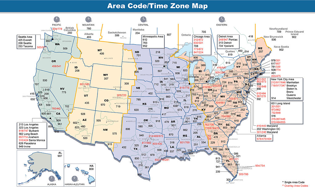 United States Area Code Map